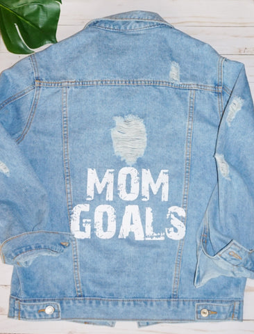 Mom Goals Distressed Jacket - WiddleToes