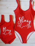 "Mommy ""Slay Alway"" Swimsuit Red - WiddleToes"