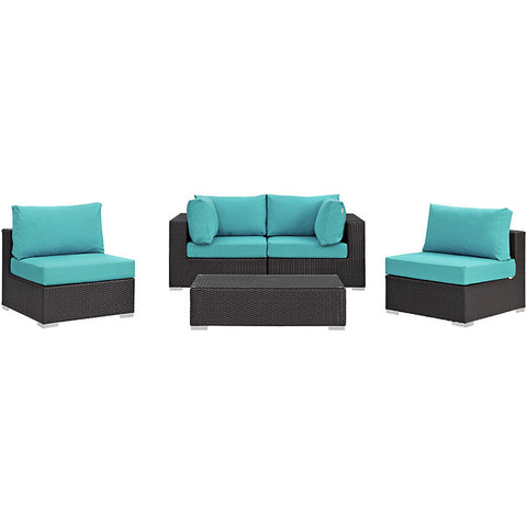 CONVENE 5 Piece Outdoor Patio Sectional Set - 360 Decor Furniture Miami FL