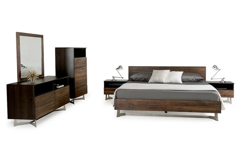 Modrest Wharton Modern Dark Aged Oak- Bedroom Set - 360 Decor Furniture Miami FL