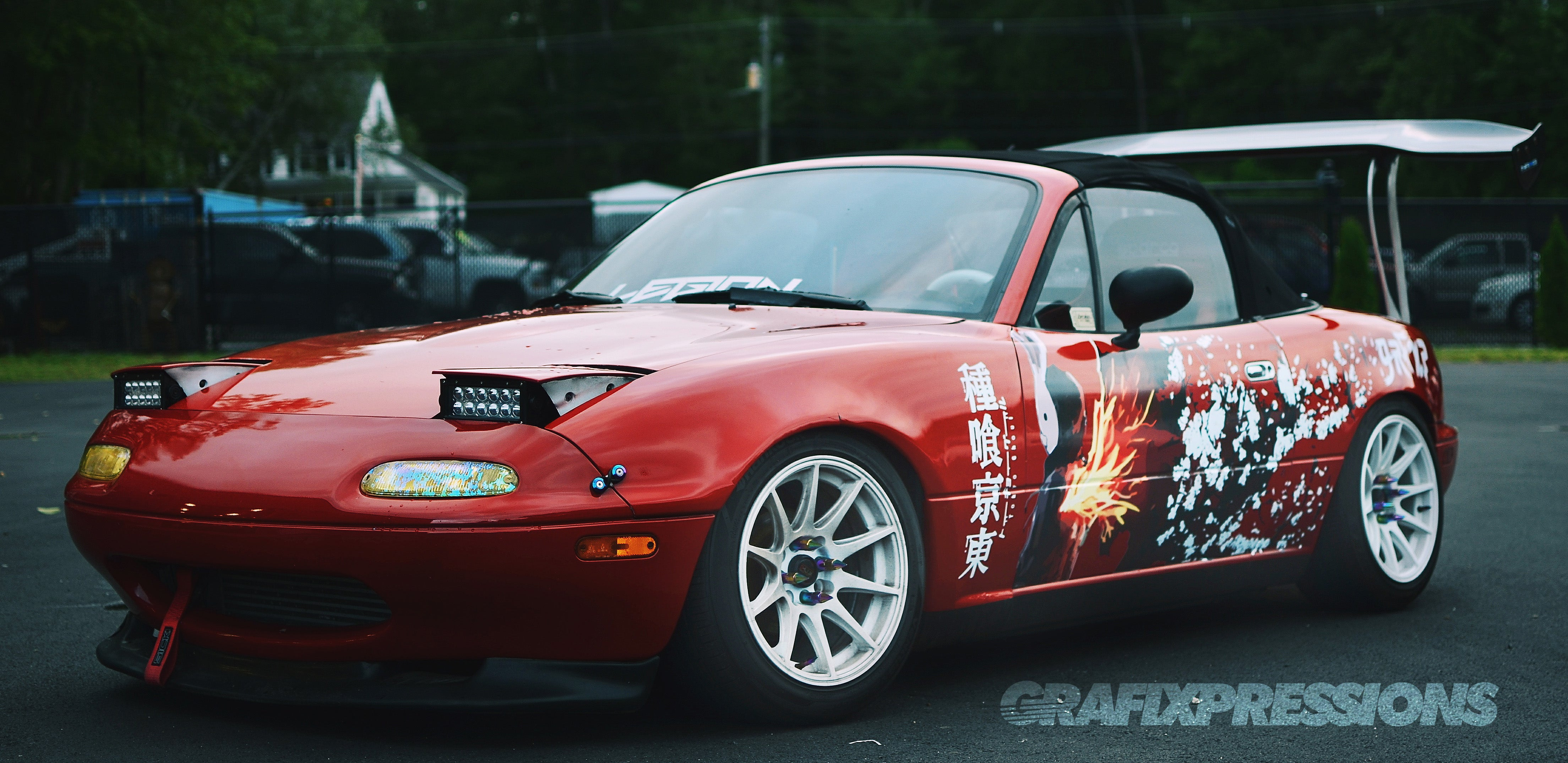 Jacobs miata with tokyo ghoul anime inspired livery a combination of full color printed graphics and die cut vinyl