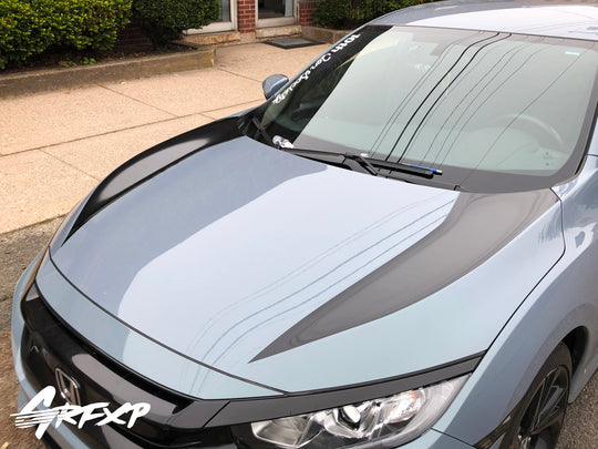 Hood Stripe Decals for 10th Gen Honda Civic Sedan/Hatch/Coupe (2016+)