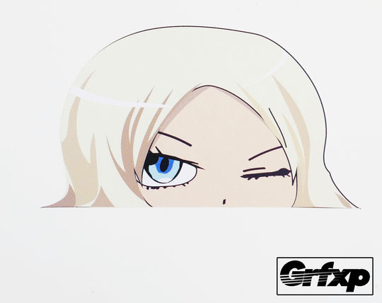 Anime Girl Peeking & Winking Printed Sticker