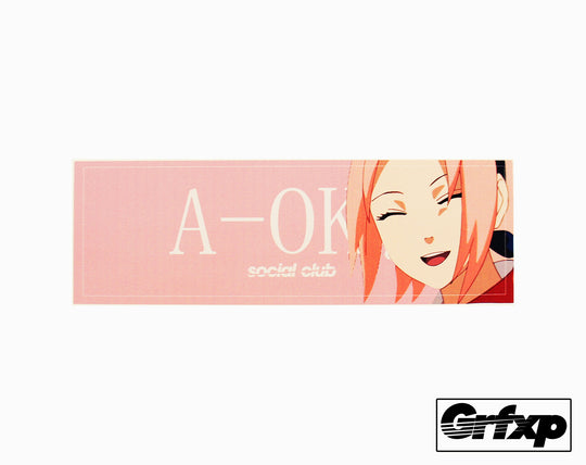 A-OK Social Club Pink Girl Printed Sticker