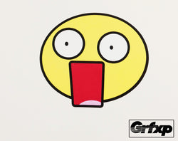 Shocked Mouth Open Emoticon Printed Sticker