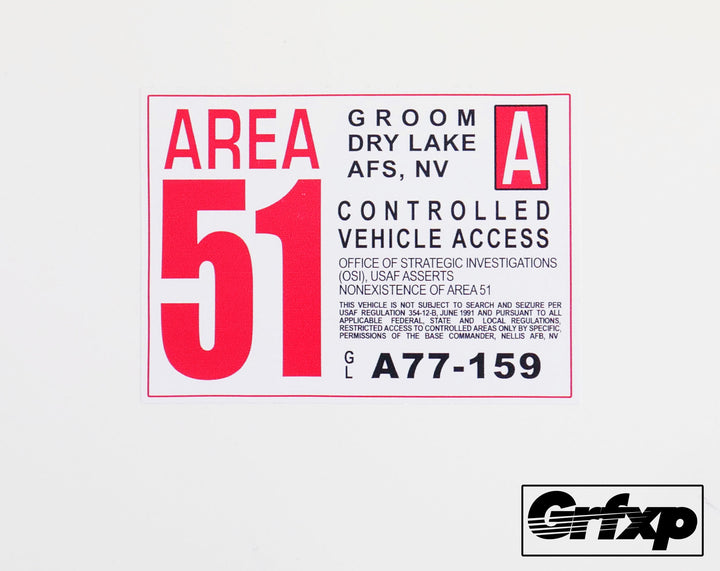 Area 51 (Groom Lake) Vehicle Access Pass Sticker