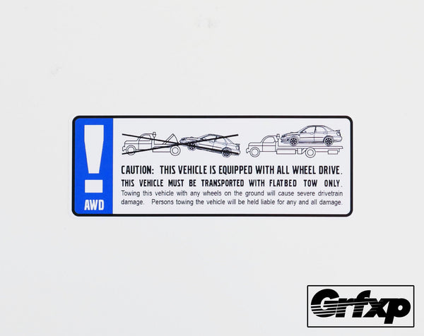 AWD Caution Printed Sticker (Subaru)