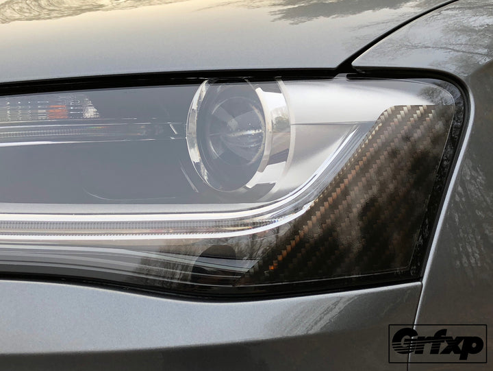 Carbon Fiber Headlight Reflector Overlays For Audi B8 5 S4