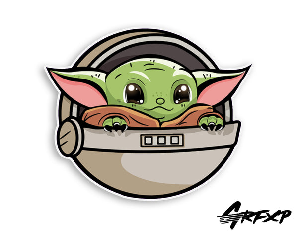 Baby Yoda in his Pod Printed Sticker