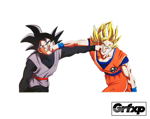 Black Goku vs Goku Printed Sticker