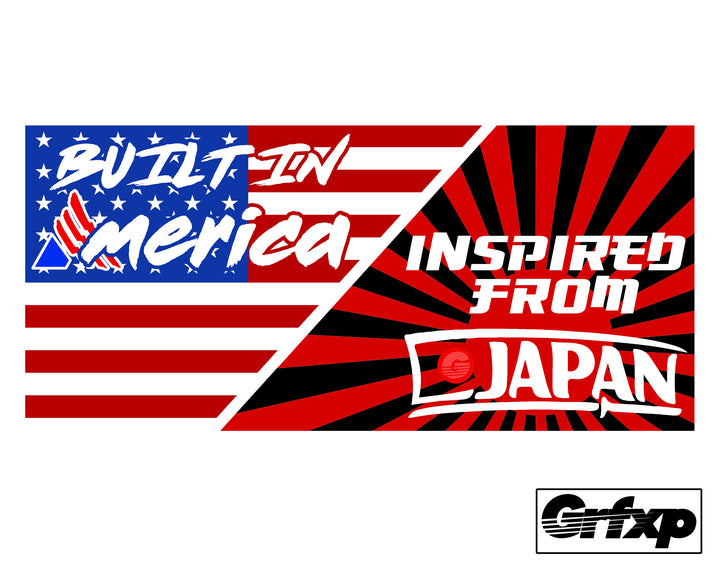 Built in America, Inspired From Japan Printed Slap Sticker