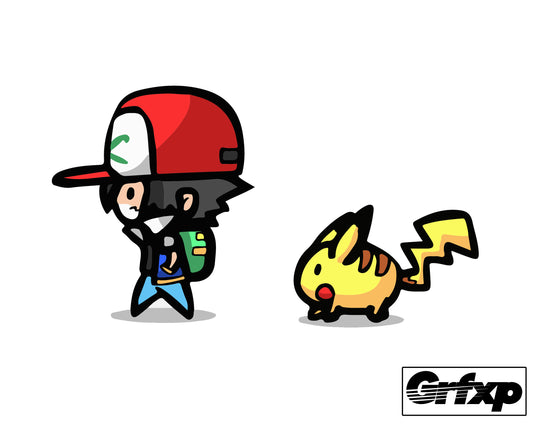 Ash and Pikachu (Chibi Style) Printed Sticker