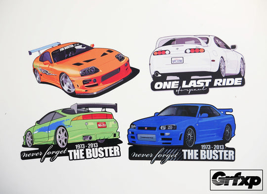Paul Walker Remembrance Vehicle Printed Sticker Collection (4 pack)