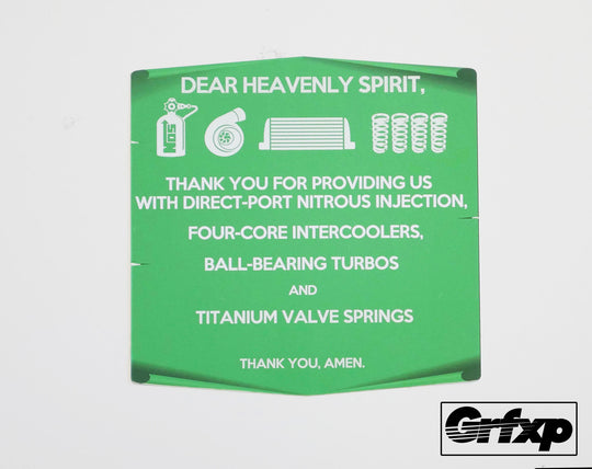 Prayer to the Car Gods Printed Sticker