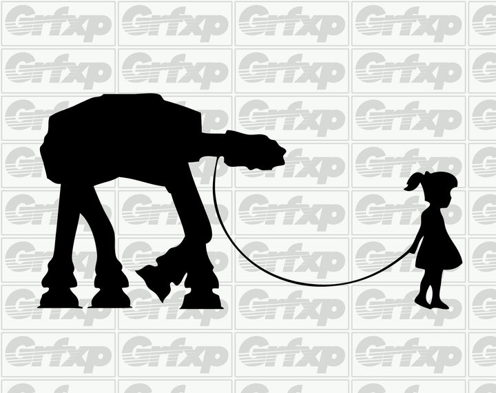 A Girl and Her Pet AT-AT Sticker