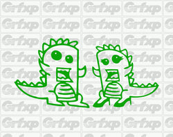Godzilla Couple Sticker