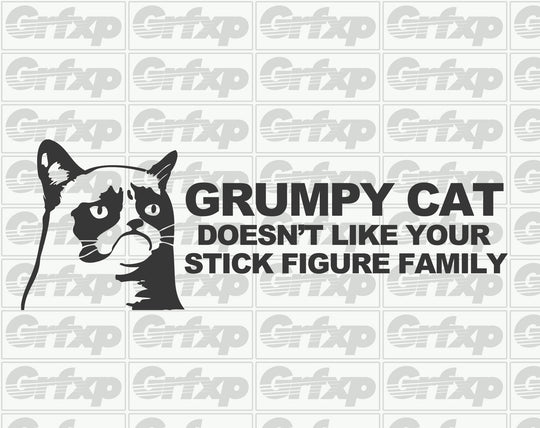Grumpy Cat Doesn't Like Your Stick Figure Family Sticker