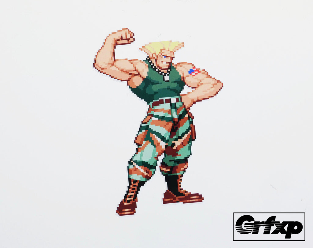 Guile flexing street fighter series printed sticker grafixpressions