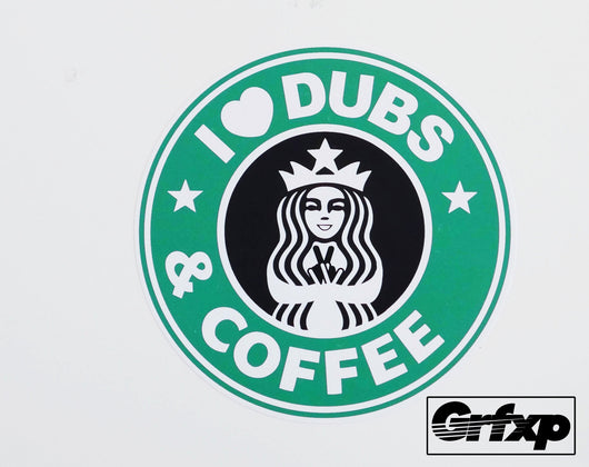 I Heart Dubs & Coffee Printed Sticker