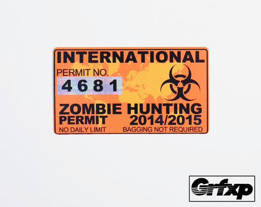 International Zombie Hunting Permit Printed Sticker