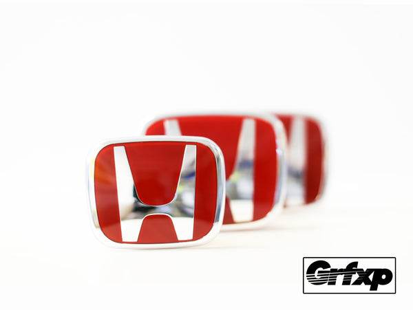 Genuine Type-R Red & Chrome JDM Honda Emblems | Grfxp