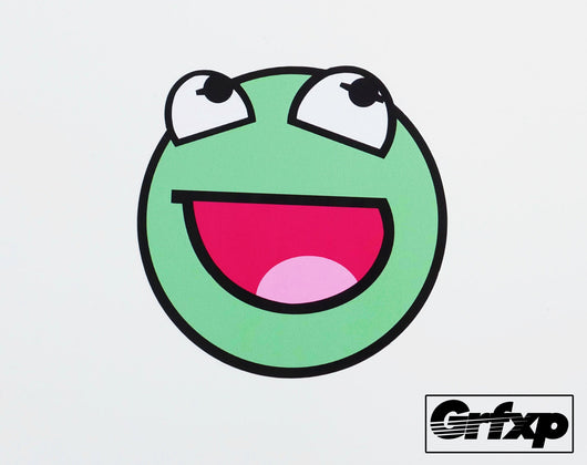 Kermit Emoticon Printed Sticker