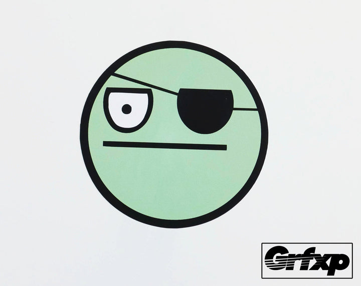 Pirate w/Eyepatch Smiley Printed Sticker