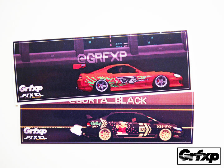 Create your own custom pixel car racer style printed slap stickers