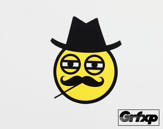 Mr. Tophat & Monacle Emoticon Smiley Printed Sticker