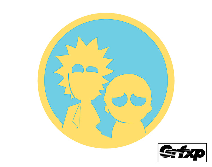 Rick and Morty Circle Printed Sticker