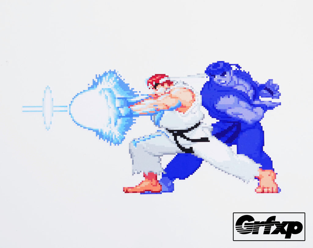 Ryu shadow hadoken street fighter series printed sticker grafixpressions