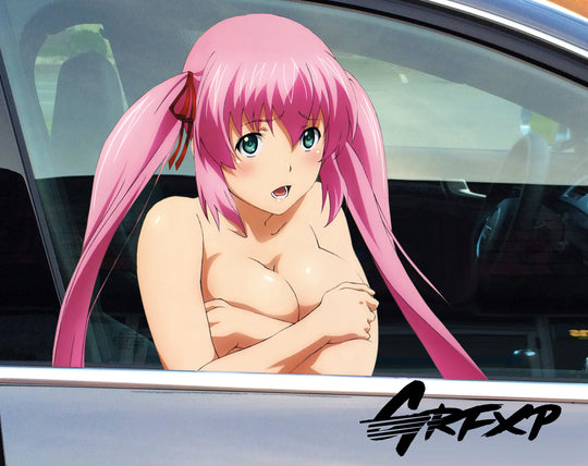 Anime Girl (Pink Hair) Passenger Window Graphic