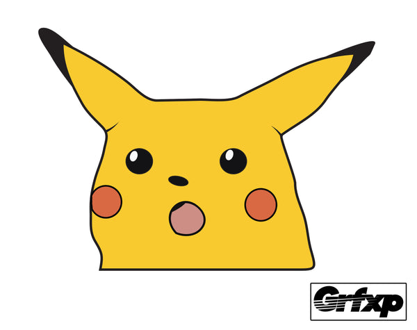 Shocked Pikachu Printed Sticker