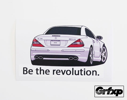 Be the revolution (Steve Jobs Mercedes SL55) Printed Sticker