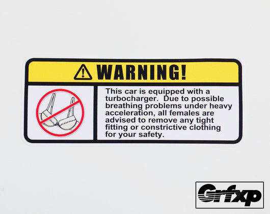 Turbocharged Warning Label Sticker