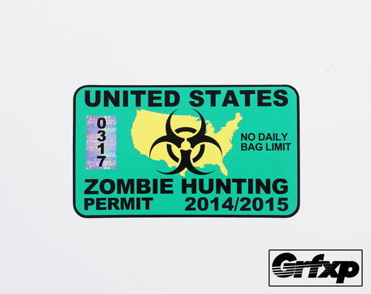 United States Zombie Hunting Permit Printed Sticker