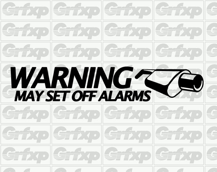 Warning, exhaust may set off alarms Sticker