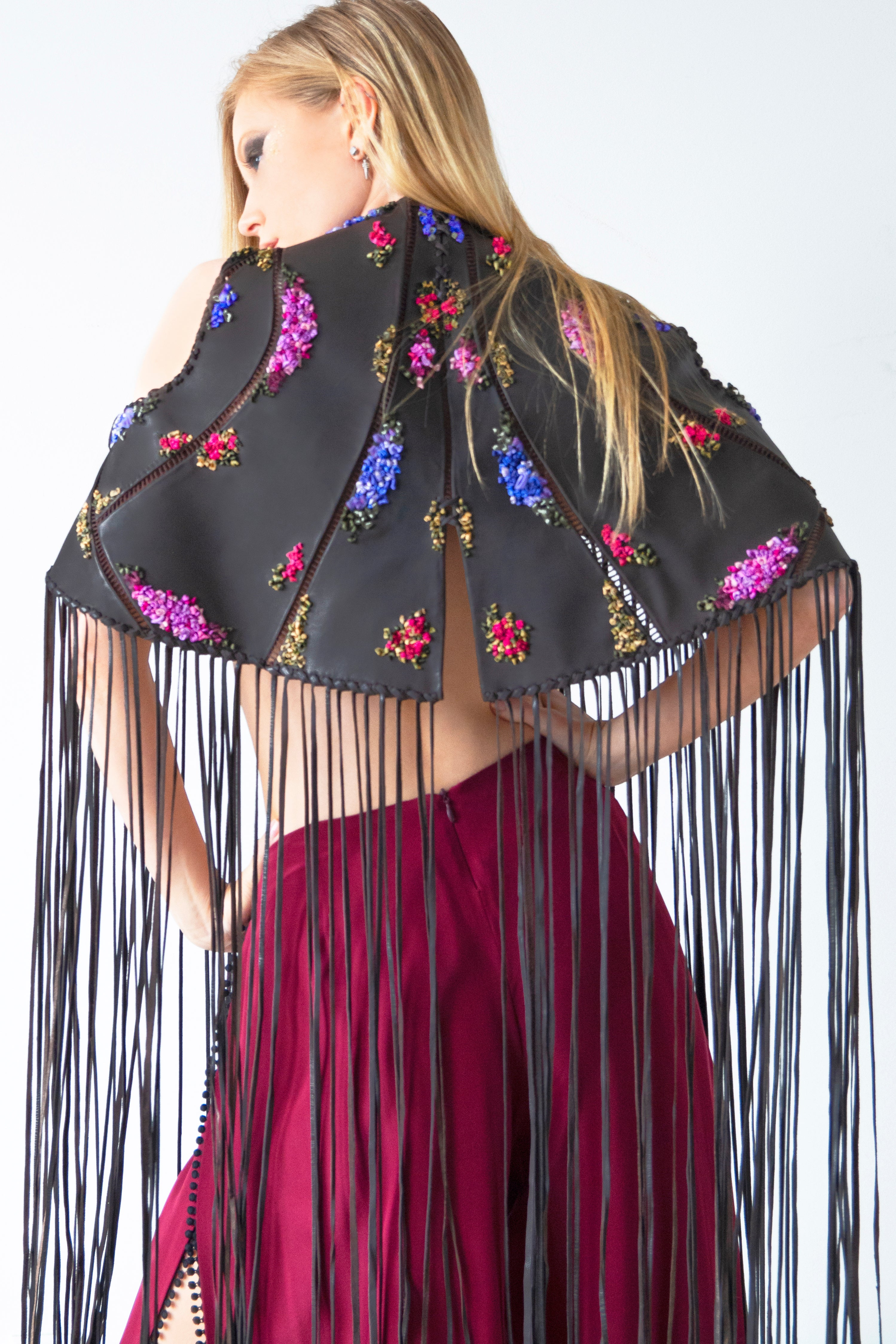 Silk Ribbon Embroidered Leather Jacket with Long Tassels - KxLNewYork