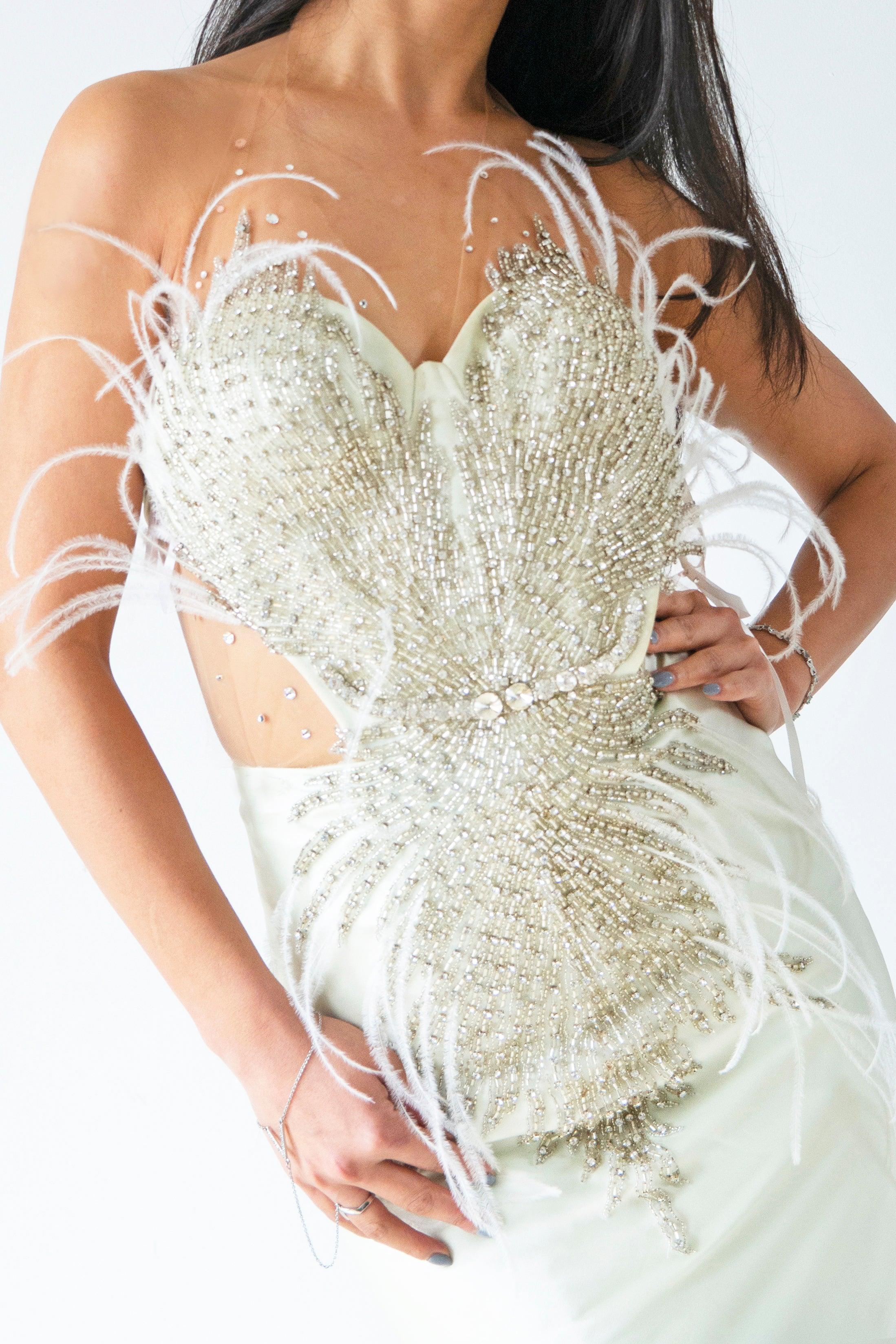 Mint Crystal Beaded with Feathers Evening Gown - KxLNewYork