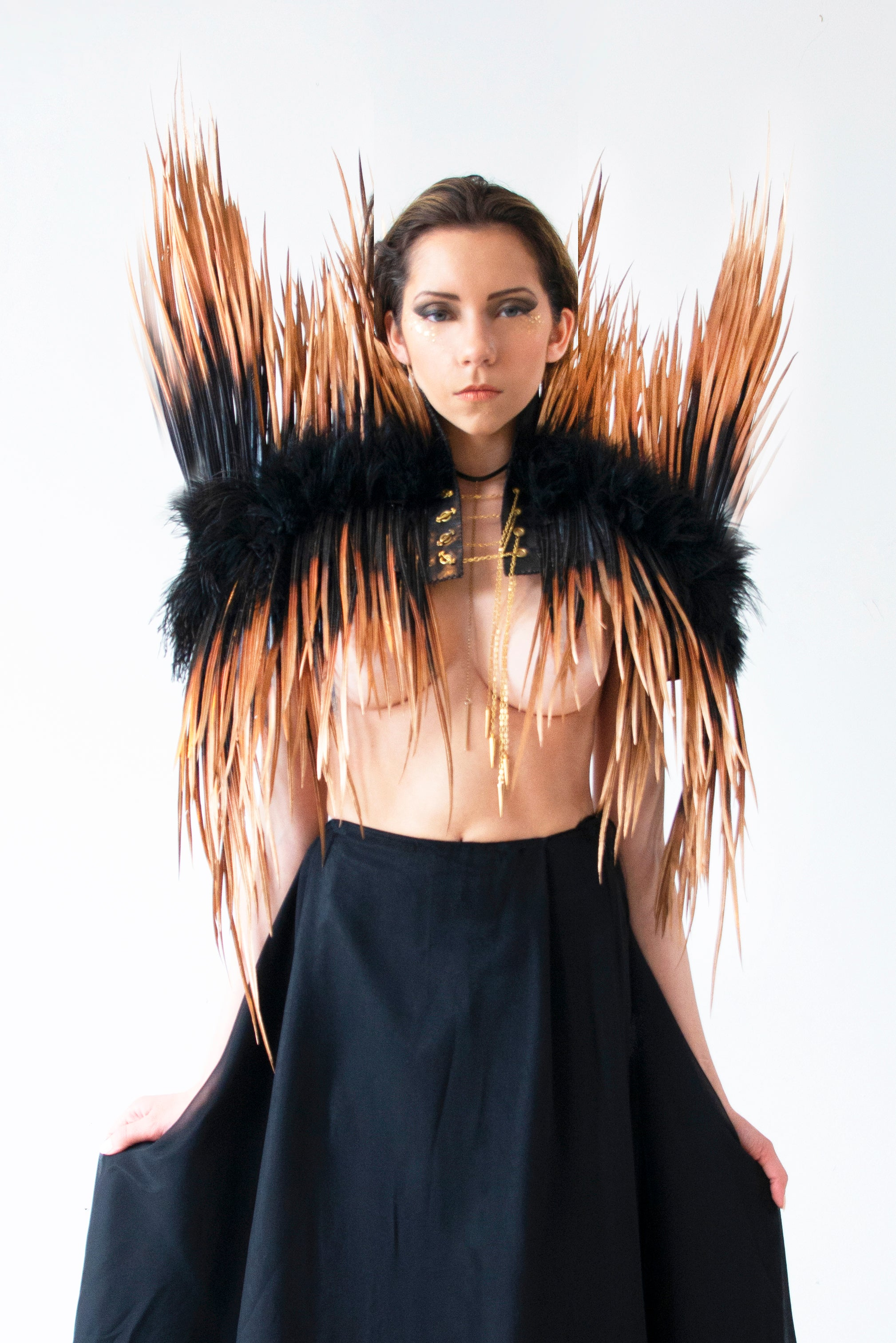 Metallic Leather & Feather-Spike Jacket - KxLNewYork