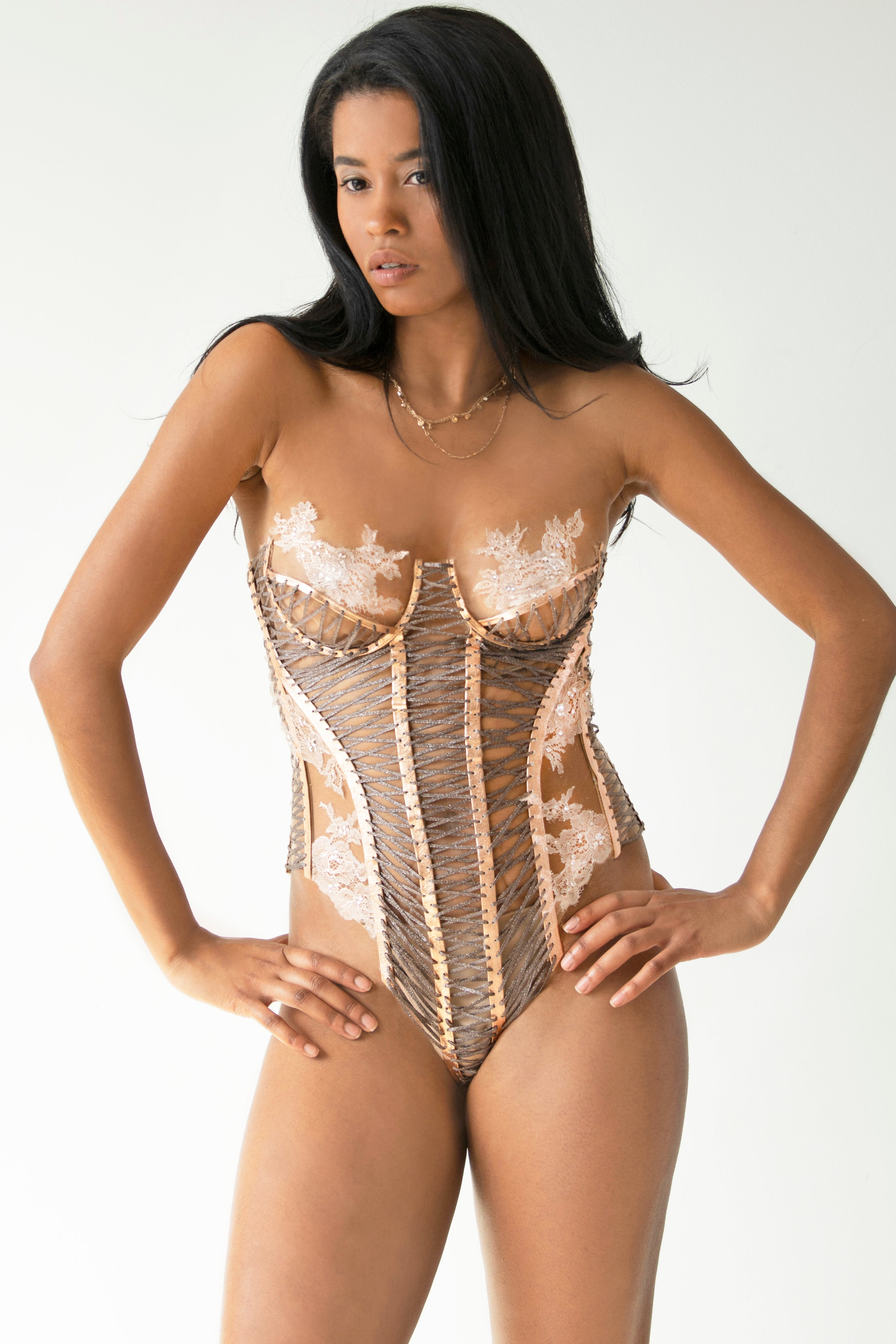 Delicate French lace & Crystal corset-style bodysuit - KxLNewYork