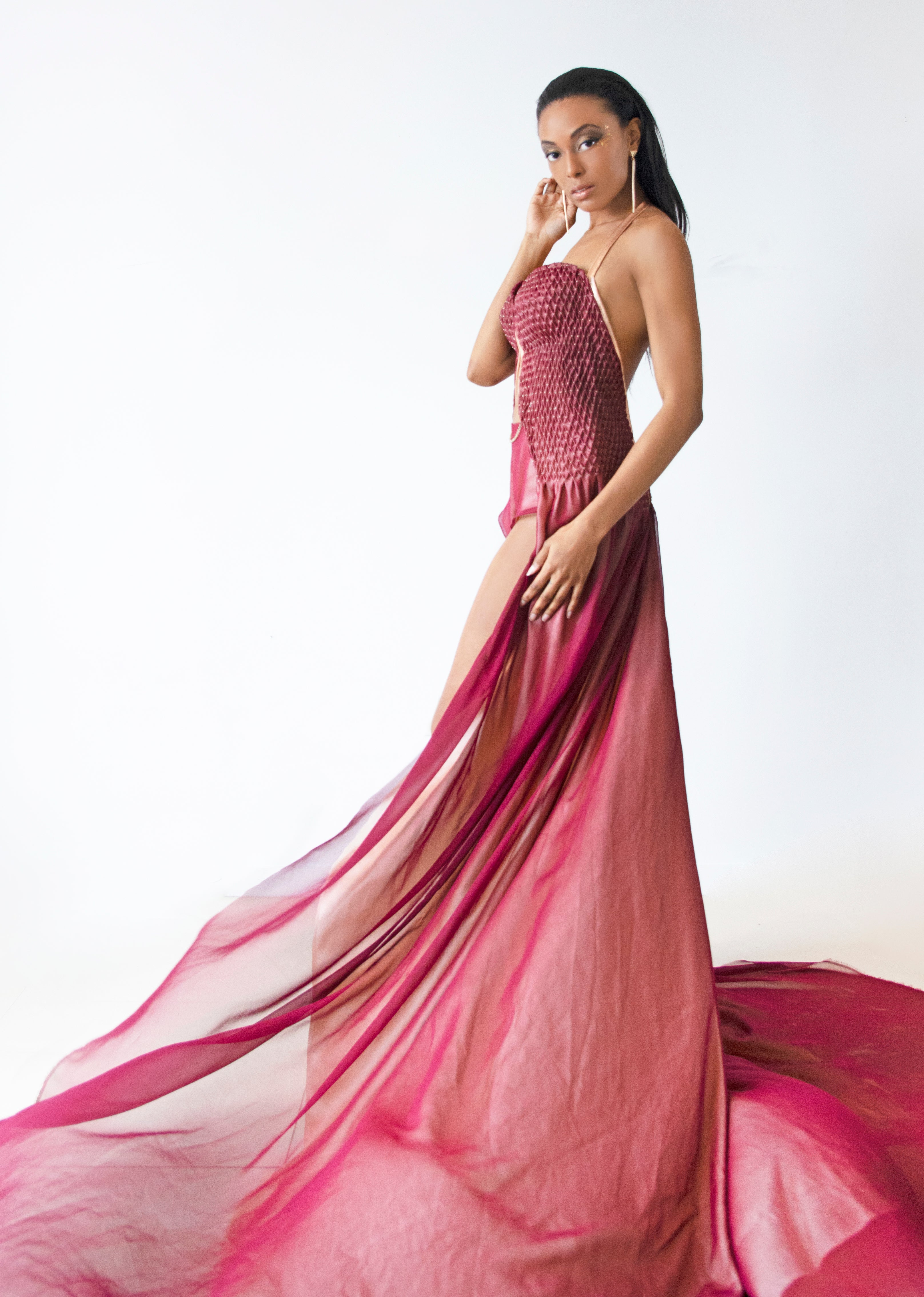 Silk Chiffon over Charmeuse Hand-Smocked Evening Gown - KxLNewYork