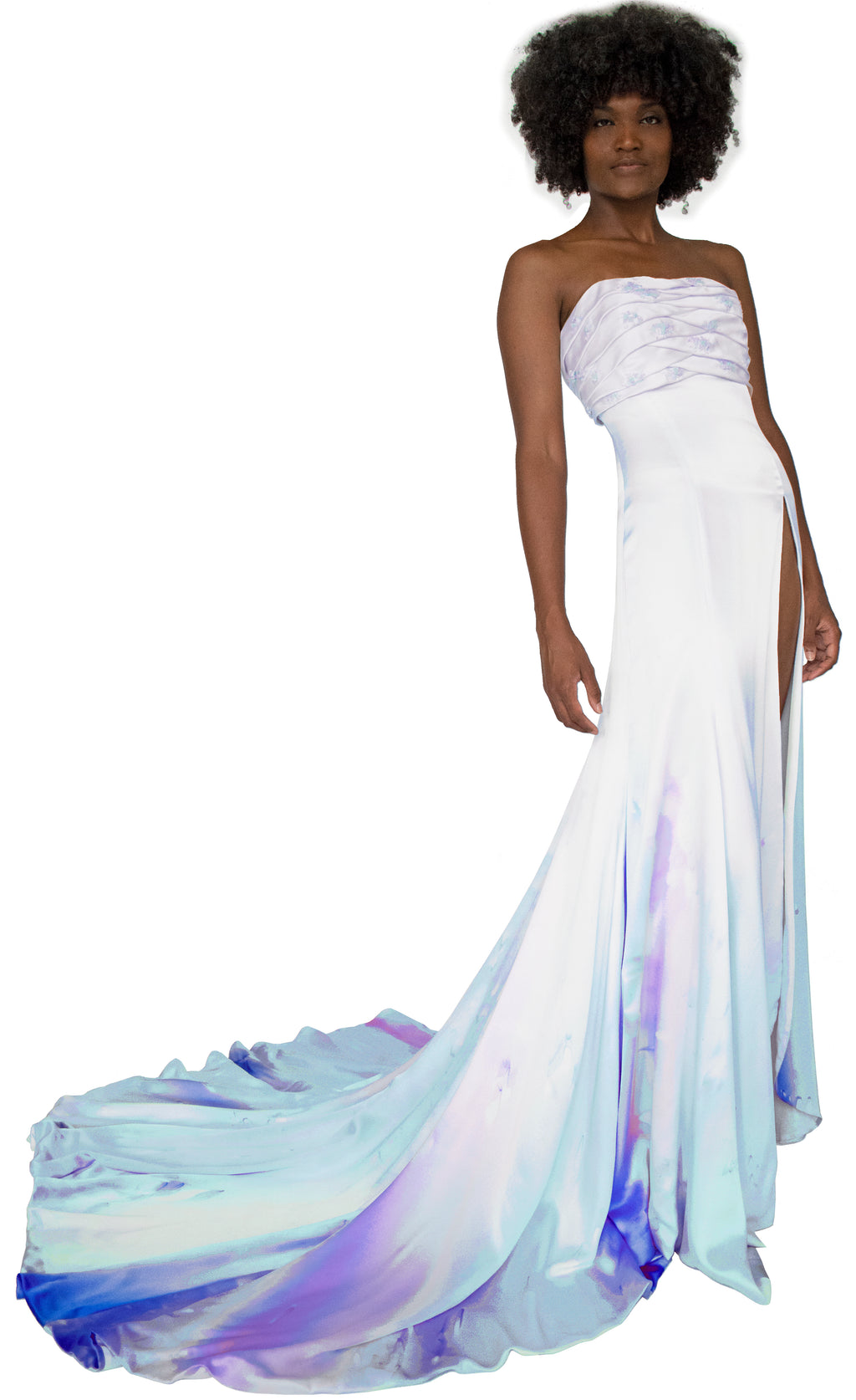 Lady of Verona Silk-Painted Gown with Ribbon Embroidery - KxLNewYork