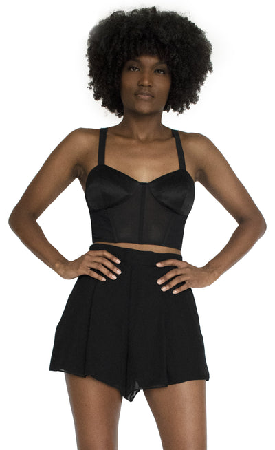 Senya Cropped Silk & Sheer Bodice