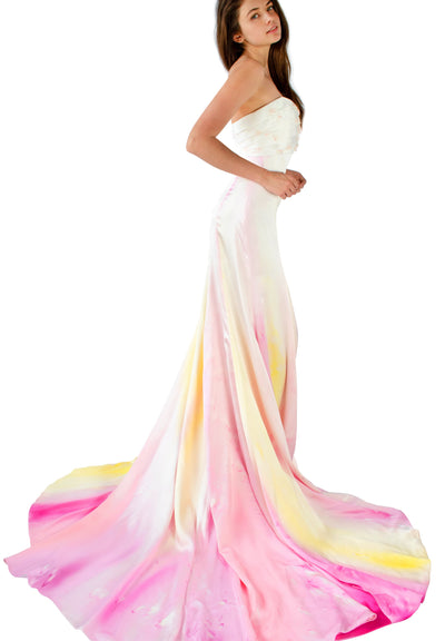 Lady of Verona Silk-Painted Gown with Ribbon Embroidery