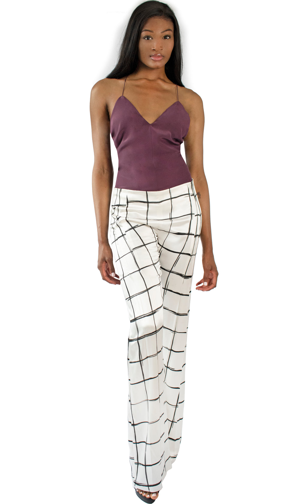 Stella Flared Painted Satin Pant - KxLNewYork