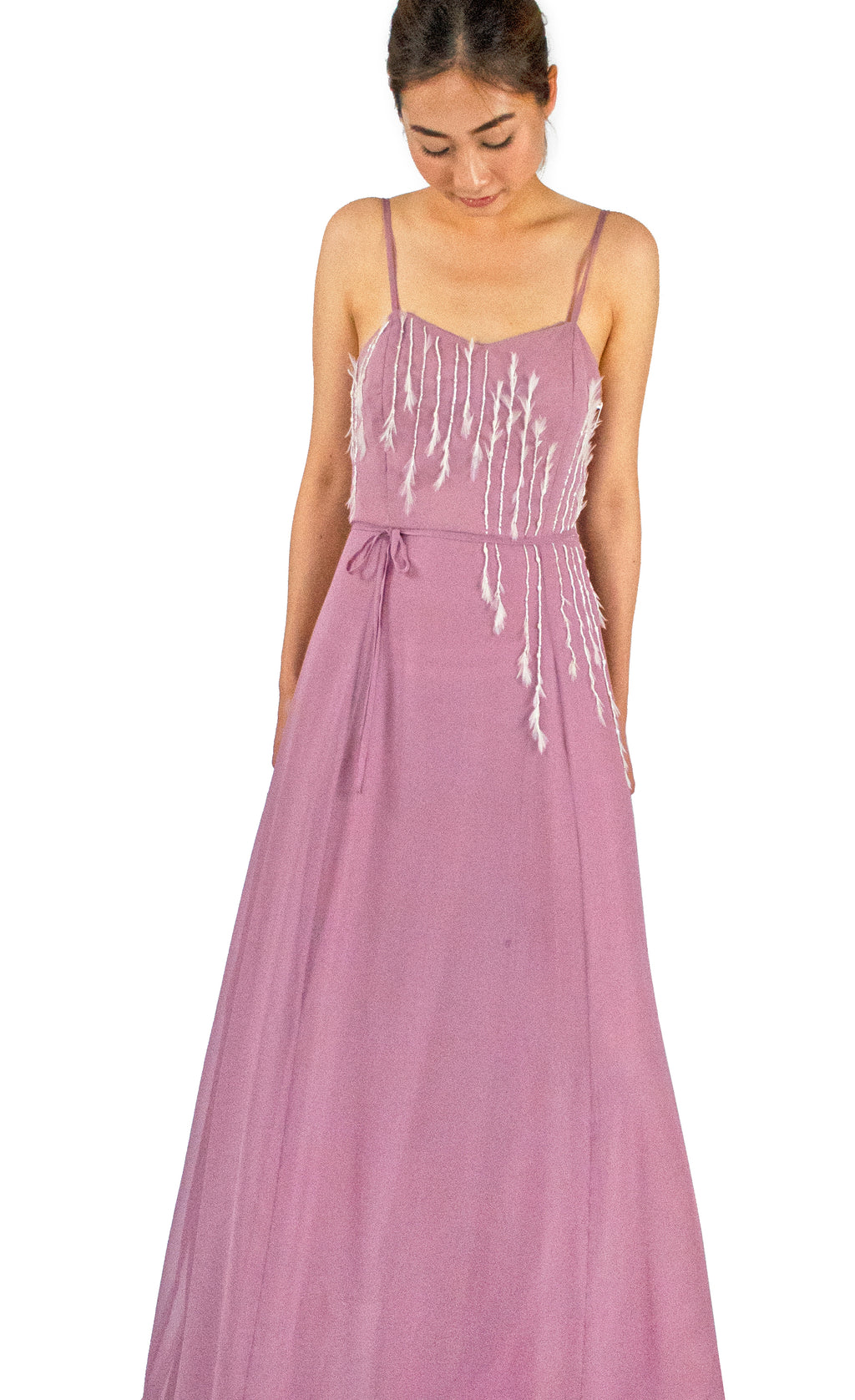 Feather & Glass-Embellished Lucie Dress - KxLNewYork