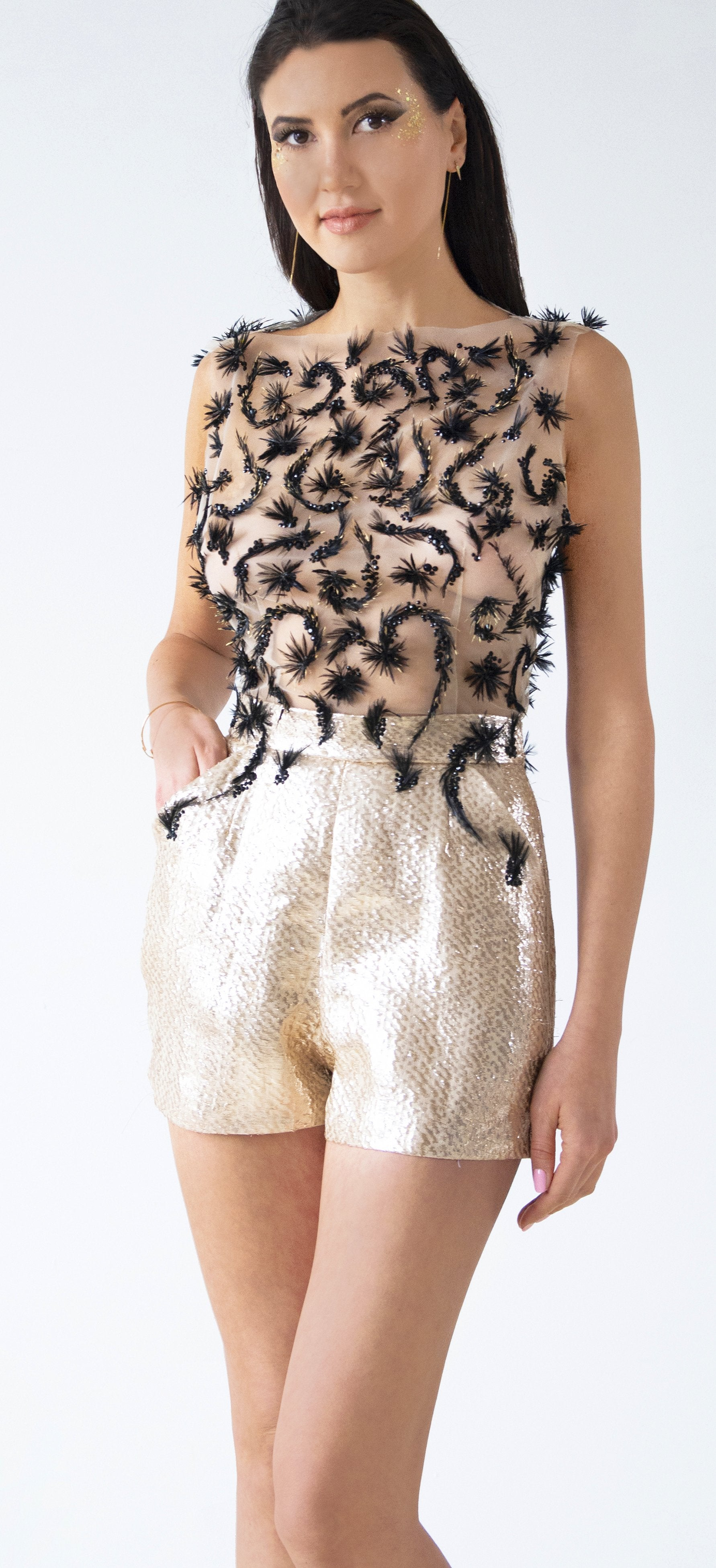 Swarovski Crystal & Feather Embellished Metallic Lamé Romper - KxLNewYork