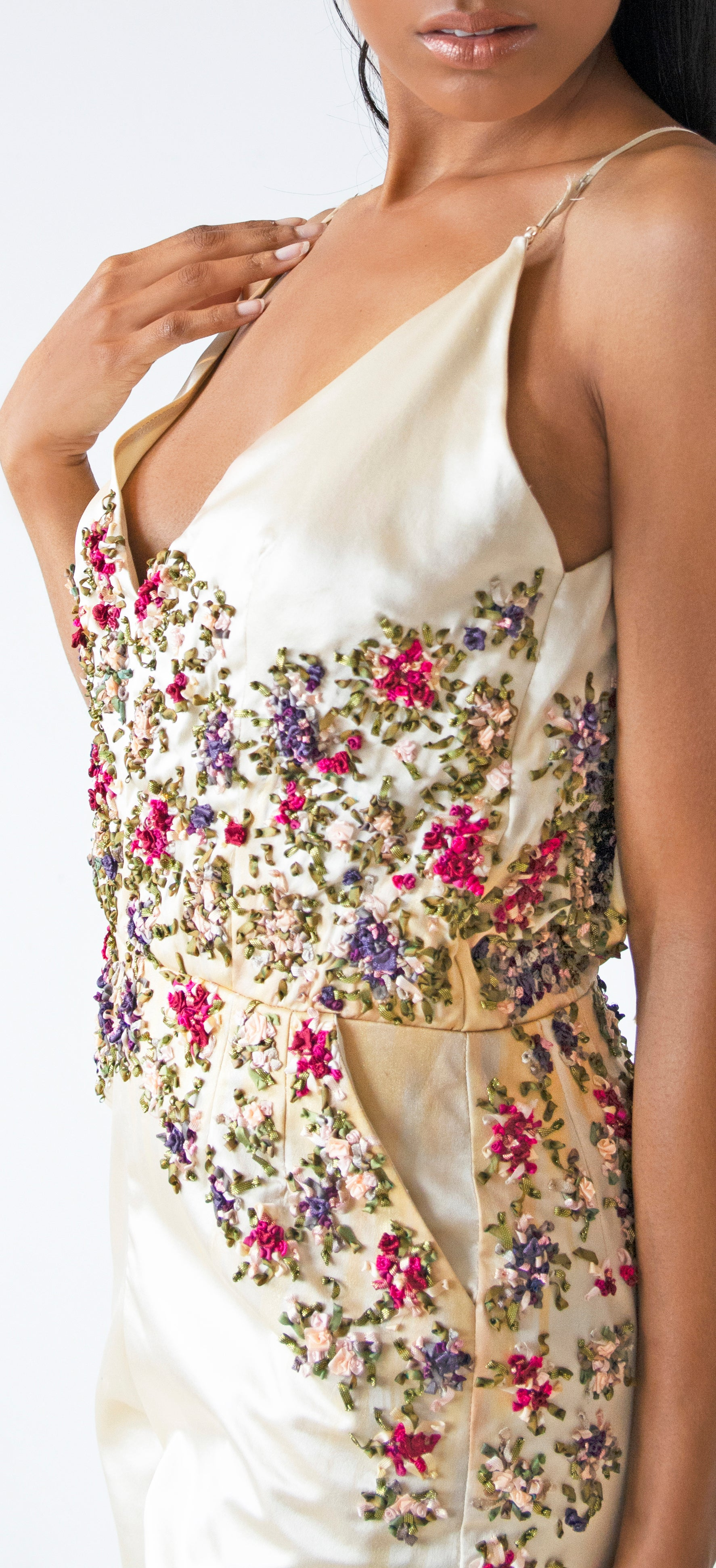 Silk Satin Jumpsuit with Floral Ribbon Embroidery & Metallic Highlights - KxLNewYork