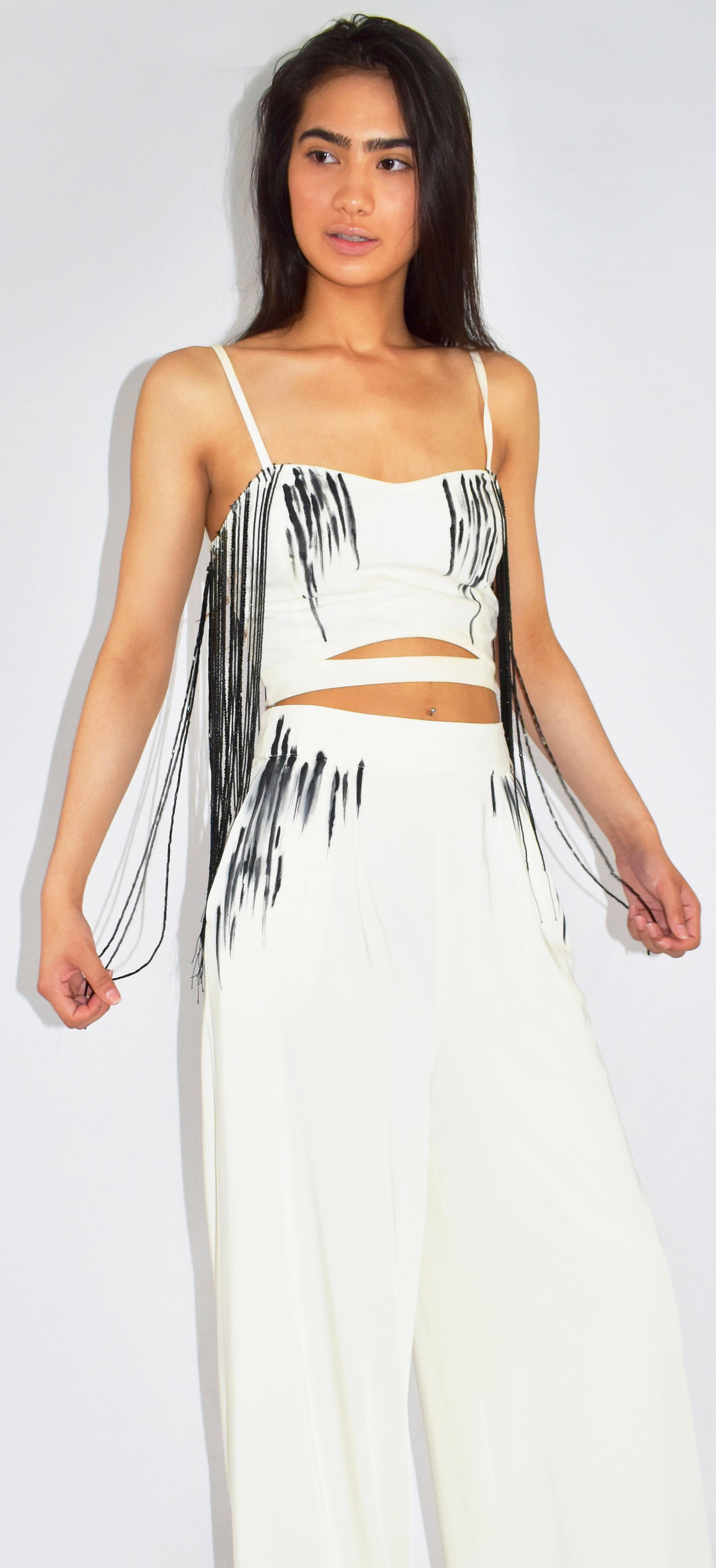 Beaded & Hand-painted Crepe Two-Piece Palazzo Set - KxLNewYork